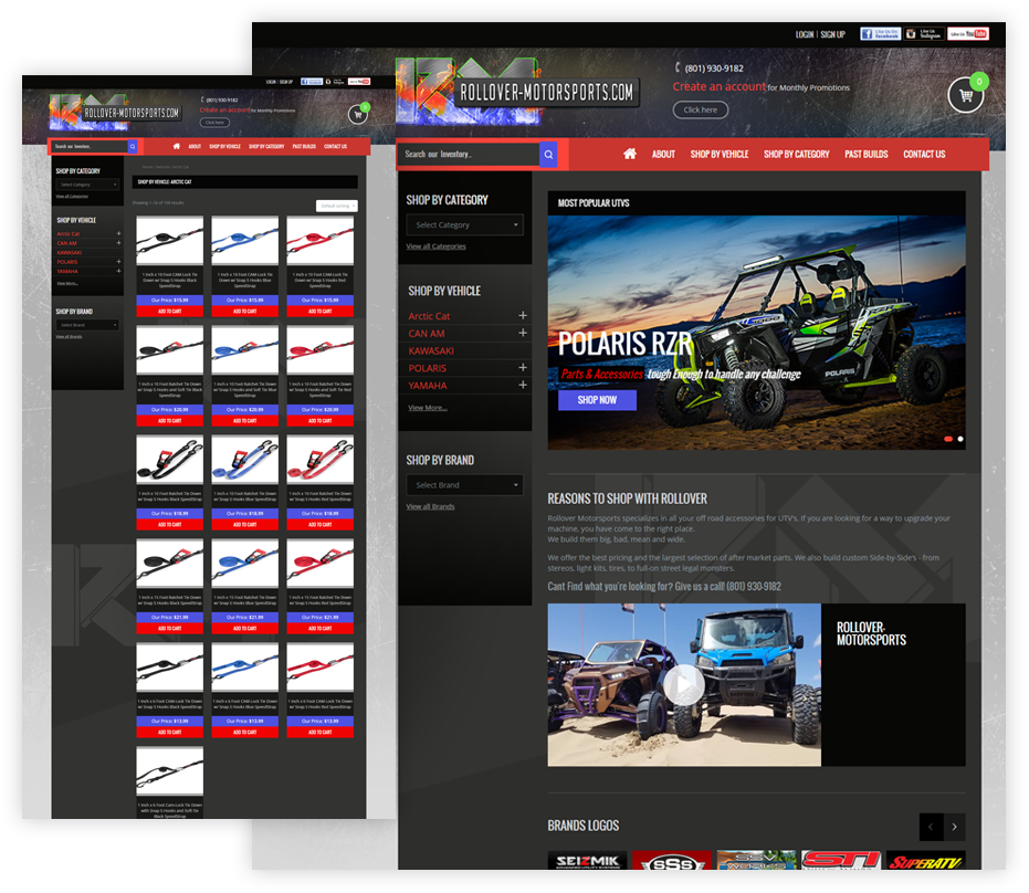 Rollover Motorsports woocommerce website