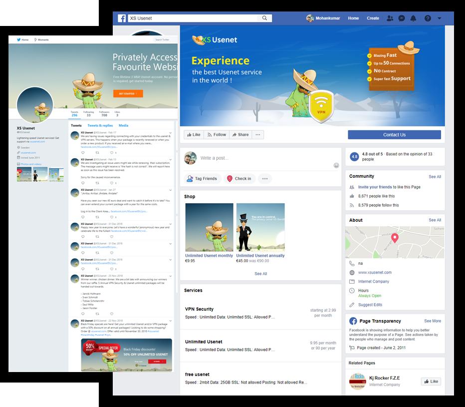 XS Usenet social media design